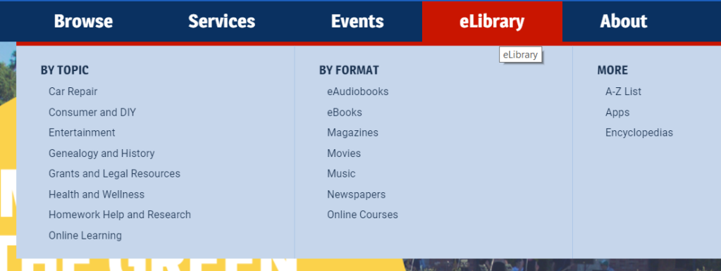 eLibrary Menu