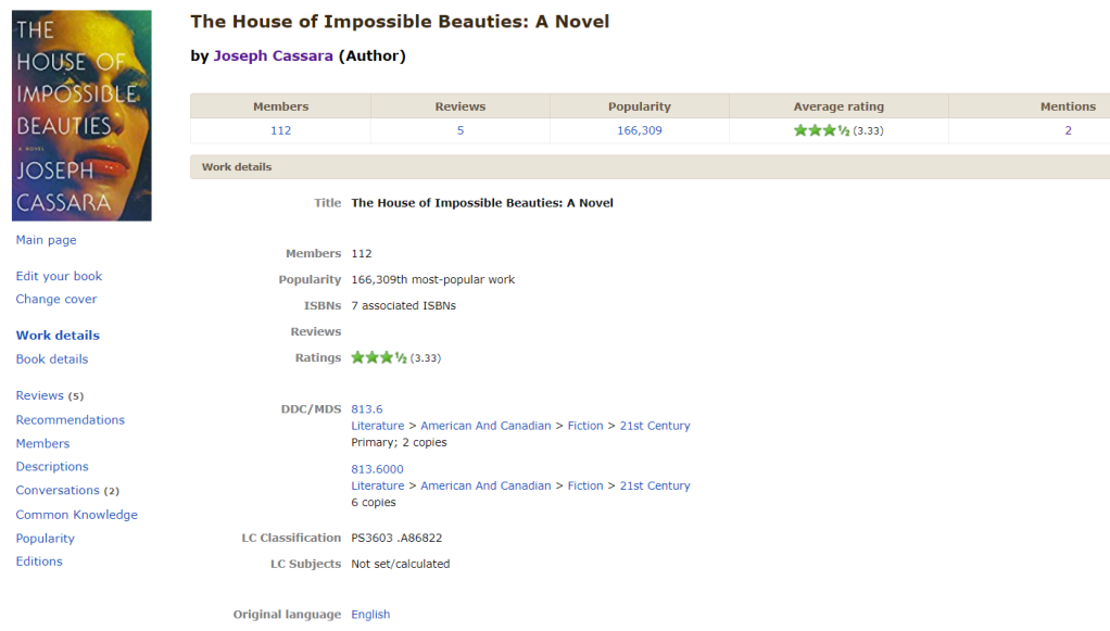 Work details page of The House of Impossible Beauties on LibraryThing