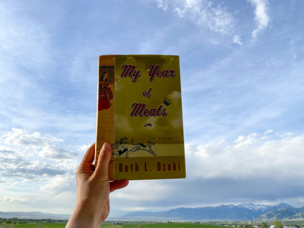 Photo of hand holding My Year of Meats by Ruth Ozeki with a sky and mountain in the distance.